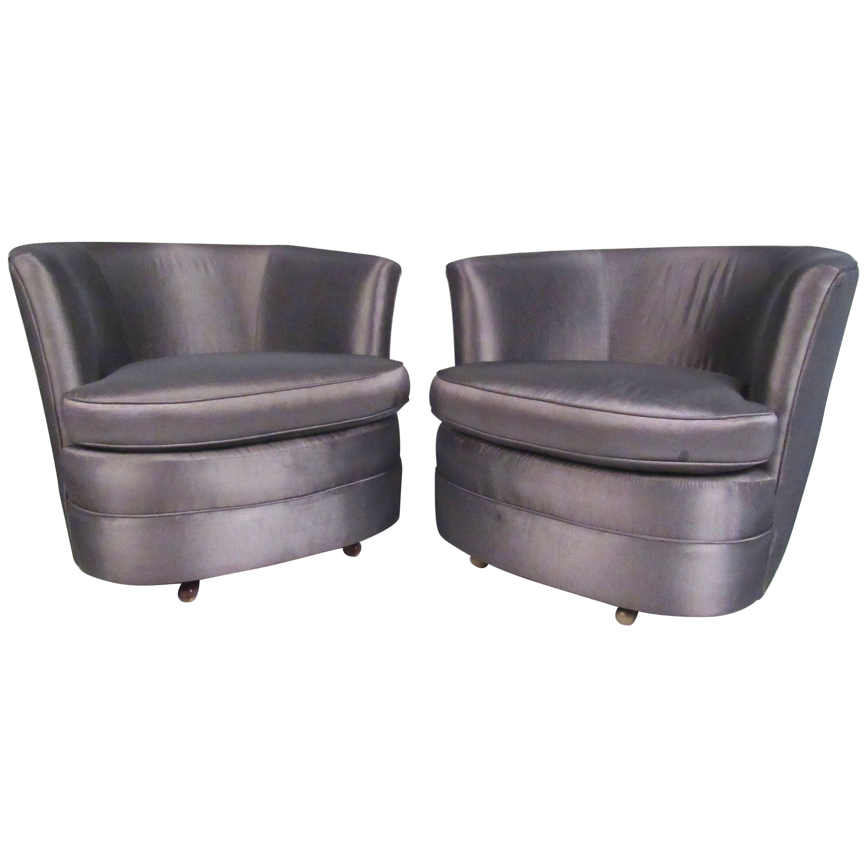 Pair of Vintage Modern Barrel Back Swivel Club Chairs