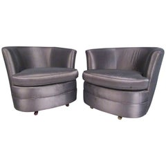 Pair of Vintage Modern Barrel Back Swivel Club Chairs