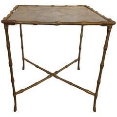 Hollywood Regency Gilt Bronze Faux Bamboo End Table with Gilt Glass Top