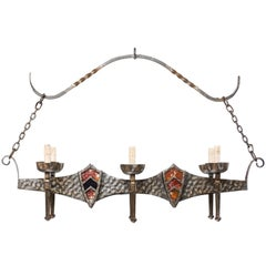French Regal Vintage Six-Light Hammered Iron Chandelier with Shield Motifs
