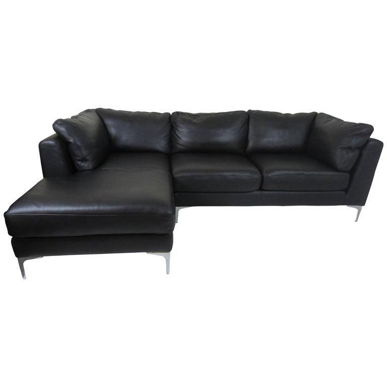 Design Within Reach Nicoletti Sectional Sofa in Black Leather