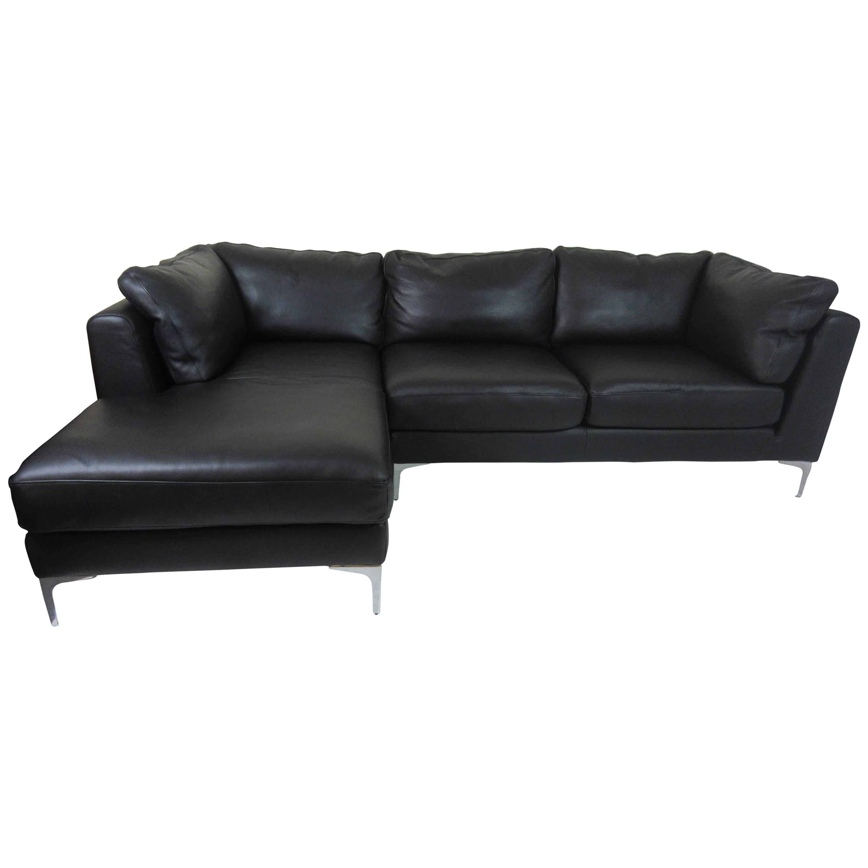 Design Within Reach Nicoletti Sectional Sofa In Black Leather For Sale