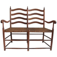 Fantastic 19th Century Double Seat Ladder Back Settee