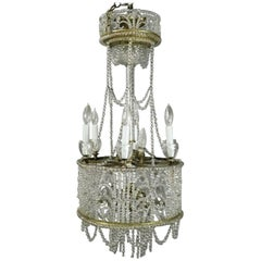 Antique French Art Nouveau Crystal Bead Wedding Cake Style Chandelier