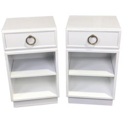 Pair of Robsjohn-Gibbings for Widdicomb, White Lacquered Nightstands