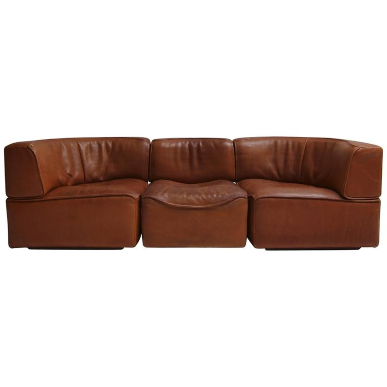 De Sede Ds15 Saddle Leather Sofa In Cognac Color At 1stdibs