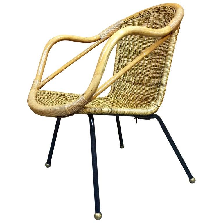 Italian Mid-Century Rattan Patio Chair, Restored