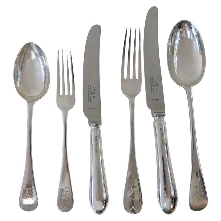 Antique English, Sterling Silver Flatware in the 'Old English' Pattern, 72 Pcs For Sale