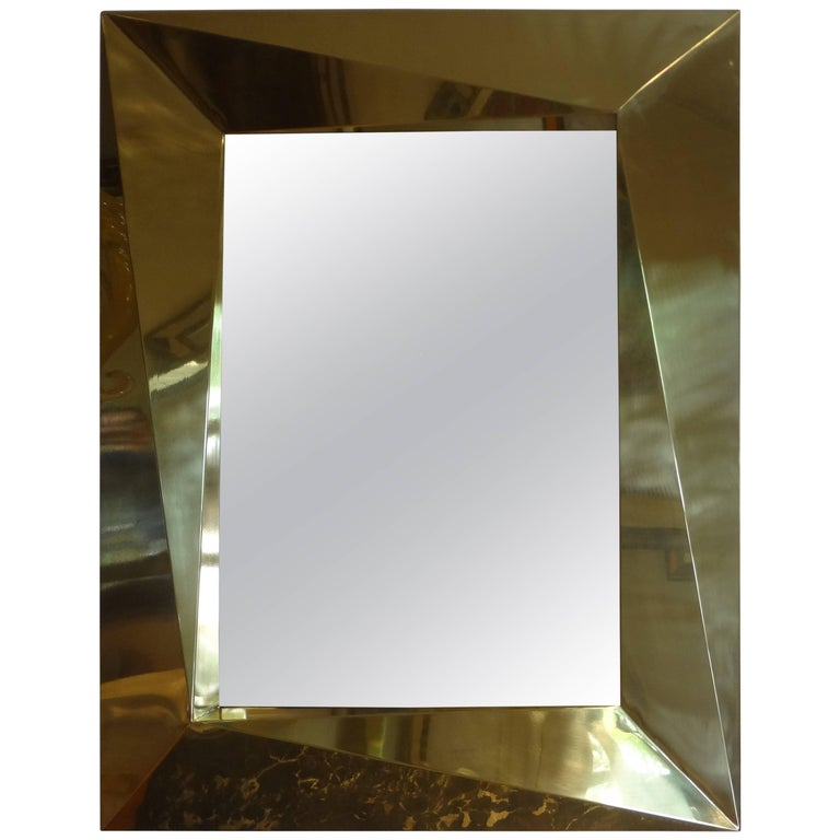 Italian Brass Modernist Geometric Mirror