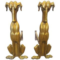 Tall Pair of Modernist Gilt Bronze Dog Andirons
