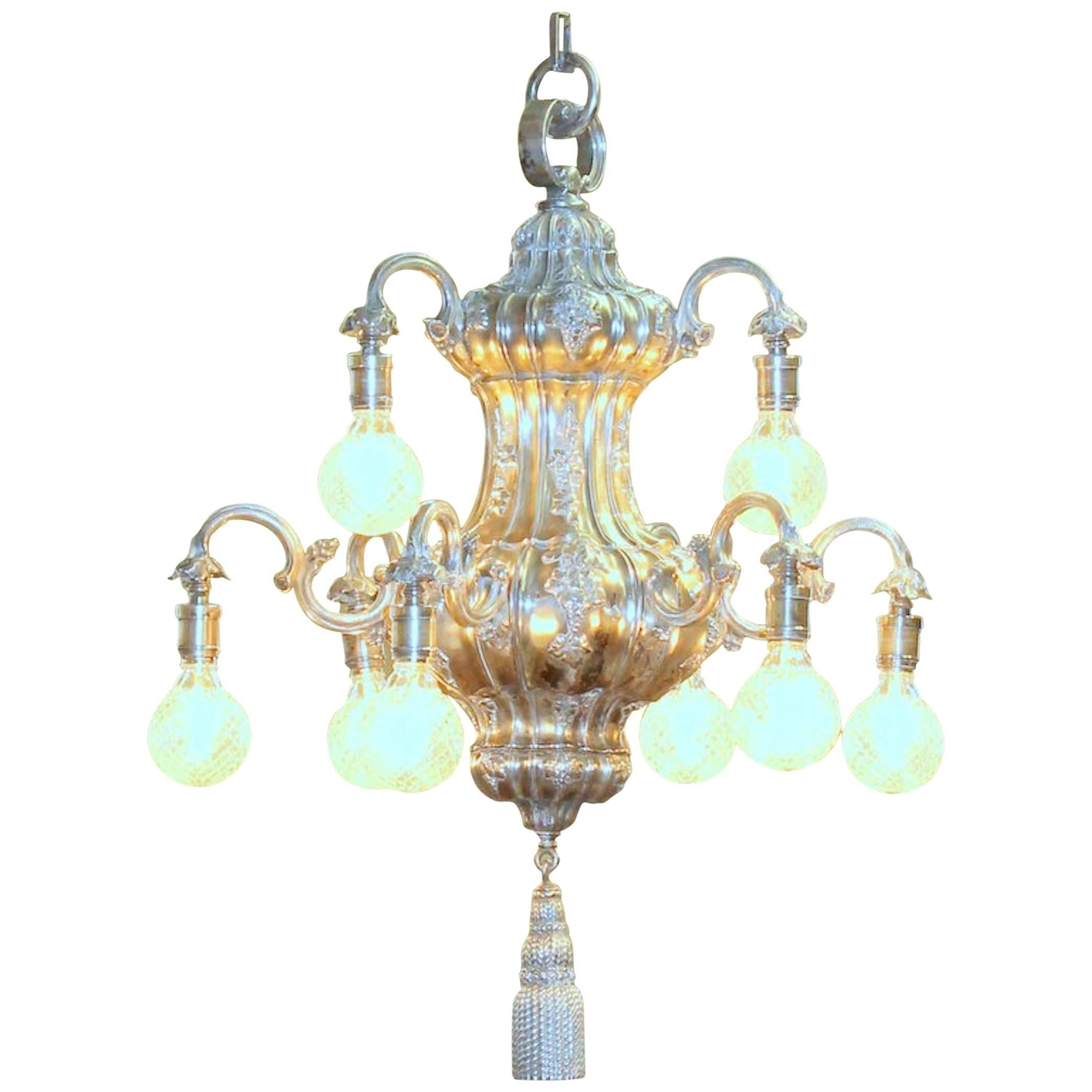 Antique American Silver Plated Bronze E.F. Caldwell Nine-Light Chandelier