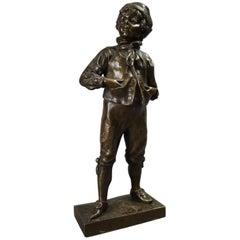 Antique German Figural Bronzed Metal Sculpture by M. Lindenberg of Boy, 1897