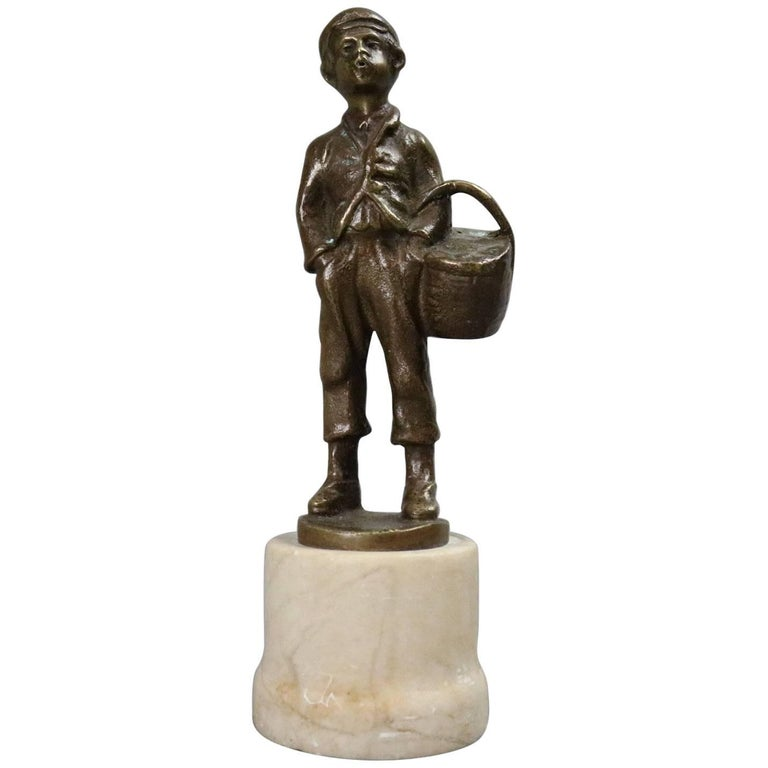 French Figural Bronzed Whistling Delivery Boy Statue, Marble Base, circa 1900