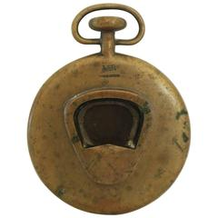 Vintage Solid Brass Pocketwatch Paperweight Bottle Opener by Carl Auböck, 1950s