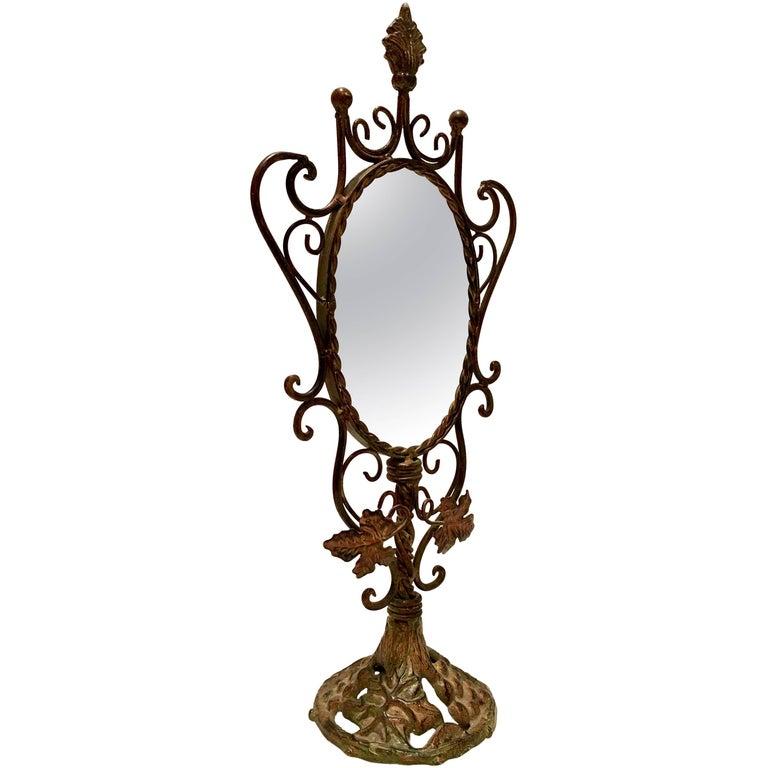 Antique Bronze Art Nouveau Vanity Mirror At 1stdibs