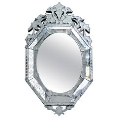 1930s Venetian Cut and Etched Glass Beveled Mirror