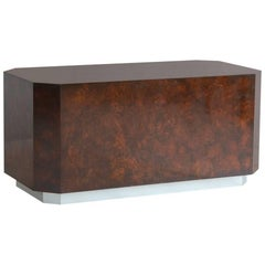 Carl Springer Style Rectangular Walnut with Chrome Recessed Base