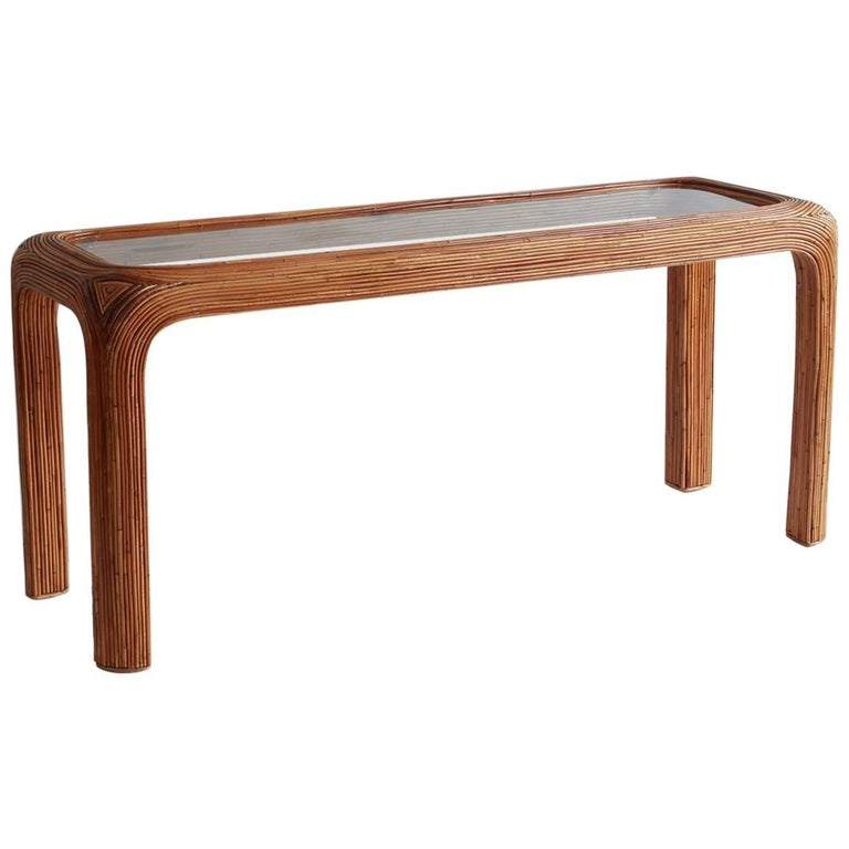Gabriella Crespi Style Bamboo Console with Glass Top 1