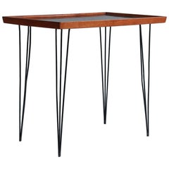 Hairpin Side Table with Walnut Top with Black Enamel Inlay