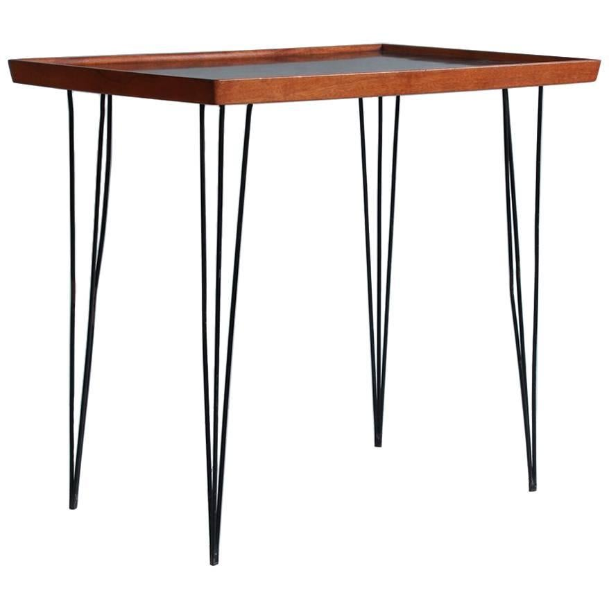 Hairpin Side Table With Walnut Top With Black Enamel Inlay 1