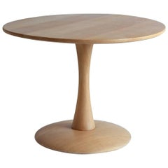 Round Low Oak Side Table on a Tulip Pedestal Base