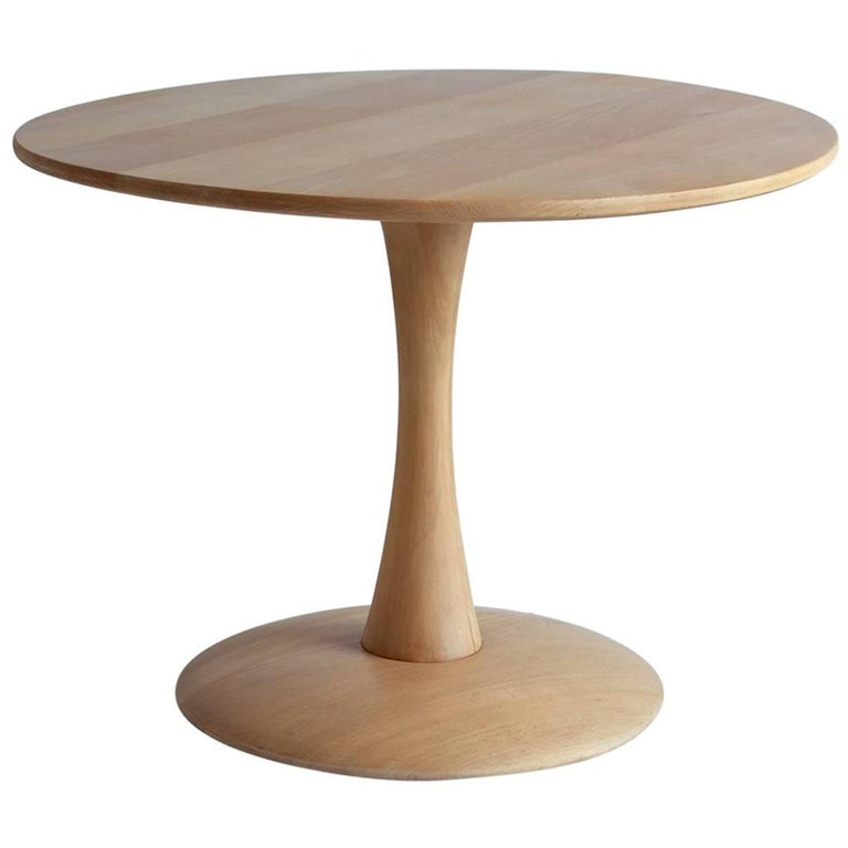 Round Low Oak Side Table on a Tulip Pedestal Base 1