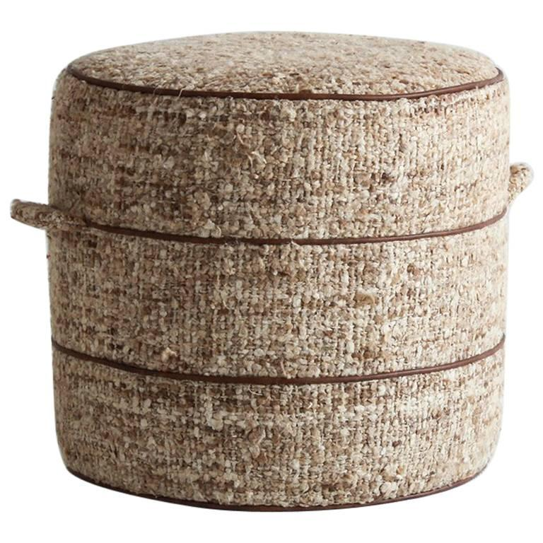Nickey kehoe collection small round hassock upholstered in for Nickey kehoe
