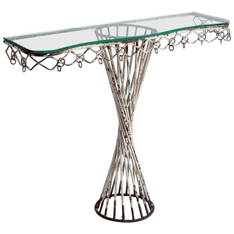White Spiral Metal Console with Glass Top 1