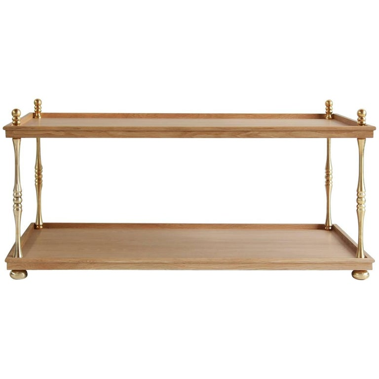 Nickey Kehoe Collection Turned Brass Cocktail Table For Sale