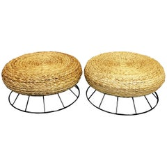 Two Italian Mid-Century Woven Rope and Metal Ottomans, Restored