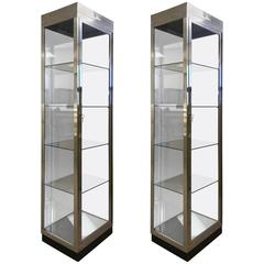 Pair of Vintage Aluminium and Glass Display Cabinets