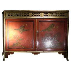 Chinoiserie Red Lacquer Cabinet English, 19th Century