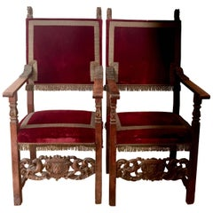 Spanish 17th Century Walnut Armchairs