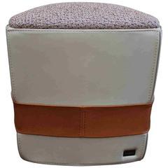 Trussardi Casa Pouf Ottoman 414 Finest Leather and Fabric