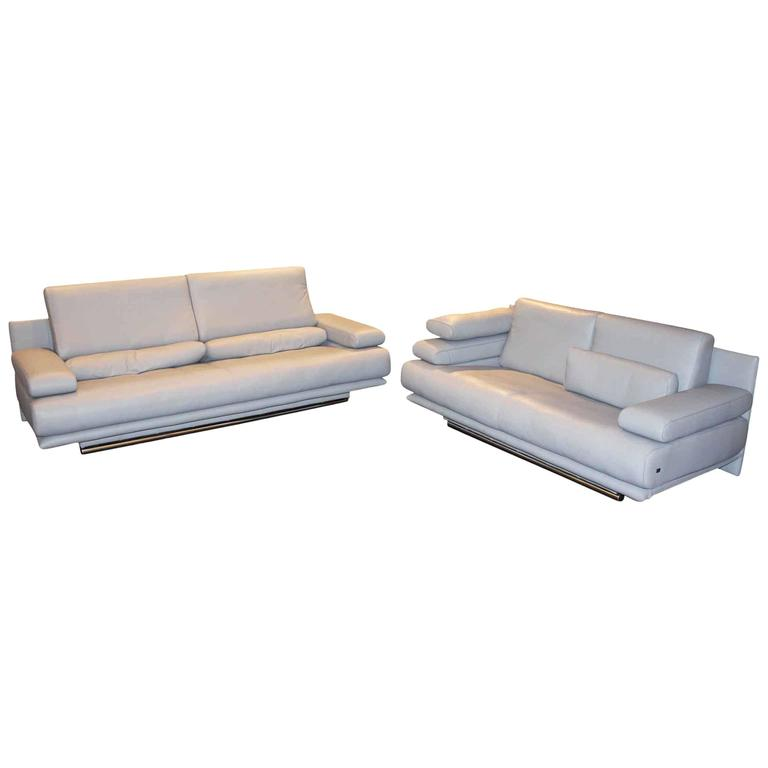 rolf benz set of two sofas 6500 leather made in germany. Black Bedroom Furniture Sets. Home Design Ideas