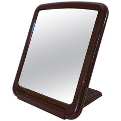 """Finnmirror"" Charming Finnish Table and Wall Mirror, Brown Plastic, 1970s"