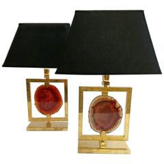 Pair of Agate and Brass Lamps, Italy