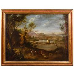 19th Century Italian Landscape Painting with Gold Frame