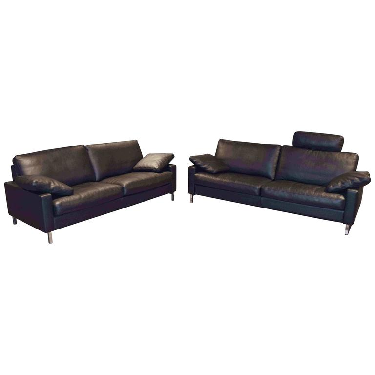 Set of two leather sofas by famous german manufacture wk for Sofa junges wohnen