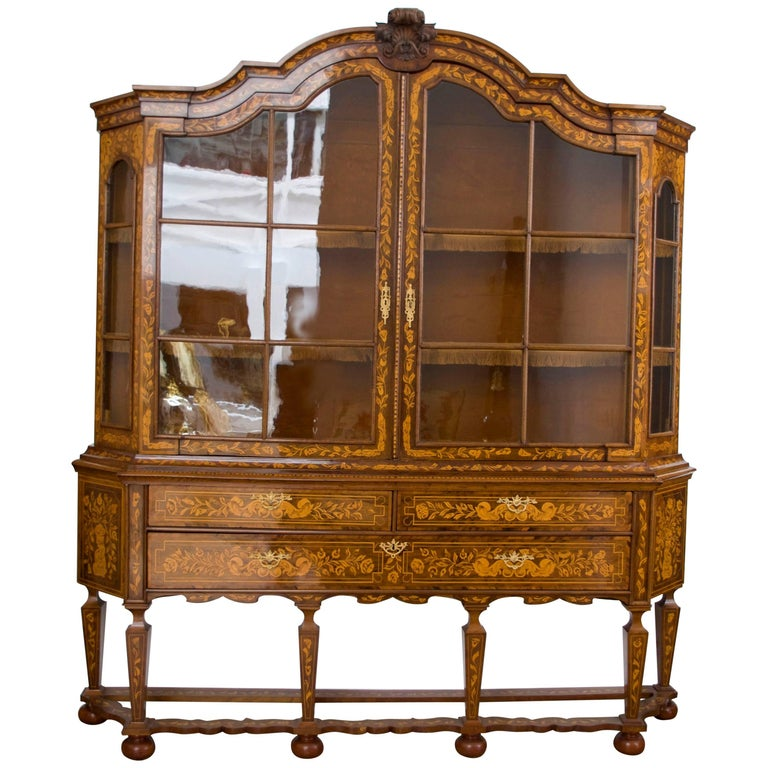 Great Dutch Marquetry Display Cabinet or Dresser, 1870