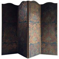 Antique Screen Room Divider Four-Fold Victorian Leather Embossed Gilded