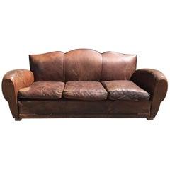 Rare French Leather Antique Moustache Club Sofa