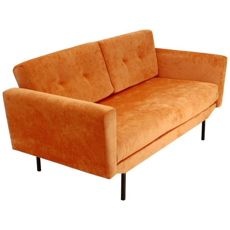 Marvelous Italian Orange Velvet Sofa Bed 1