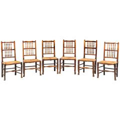 Set of Six Late 19th Century Elm Stick-Back Country Chairs