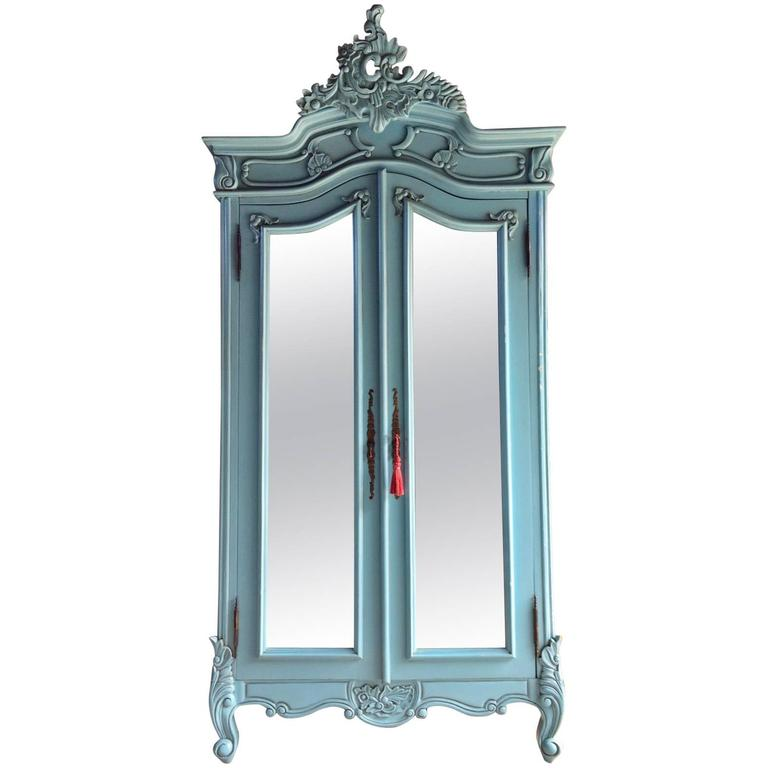French painted armoire double wardrobe mirrored large louis xv style at 1stdibs - French style armoire wardrobe ...