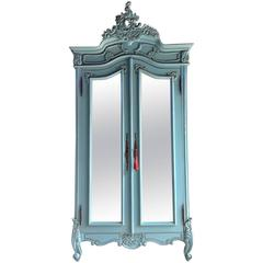 French Painted Armoire Double Wardrobe Mirrored Large Louis XV Style