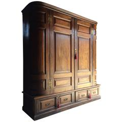 Antique Double Wardrobe Armoire Solid Oak Victorian, 19th Century