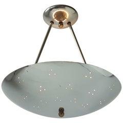 Nickel Plated Aluminium Pierced Flushmount with 3 Light Bulbs , 1950s , USA