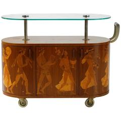 Bar Trolley Bacchusparade, Attributed to Mjölby Intarsia, Sweden, 1930-1940
