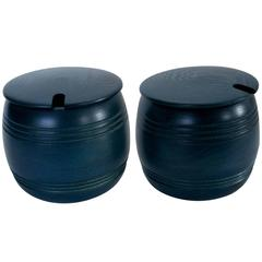 Two Wooden Jars with Lid, Dyed Wood, Swedish, 1970s by Smålandsslöjd